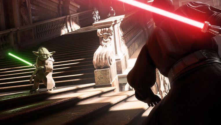 Een duel met TL-buizen in Star Wars Battlefront 2. Beeld DICE