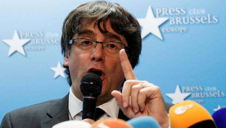 Puigdemont tijdens een persconferentie in Brussel Beeld reuters