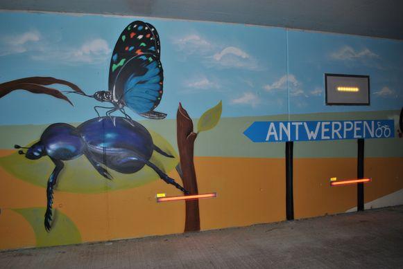 De tunnel ligt in een natuurlijke omgeving en dat is ook de kunstenaars niet ontgaan.