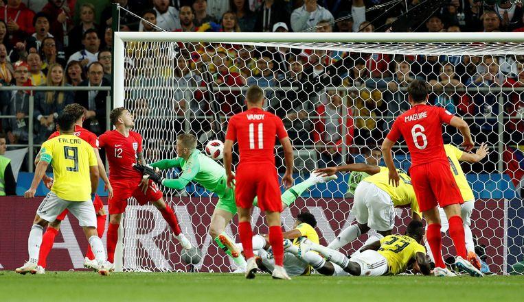 In de extra tijd scoort Colombia nog 1-1 tegen Engeland. Beeld Photo News