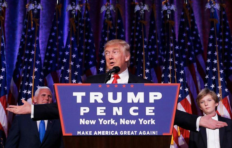 Trump tijdens zijn toespraak na de winst in de Amerikaanse presidentsverkiezingen. Beeld anp