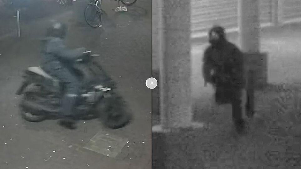 De mannen op de scooter droegen regenpakken. De politie hoopt dat mensen de twee desondanks toch herkennen.
