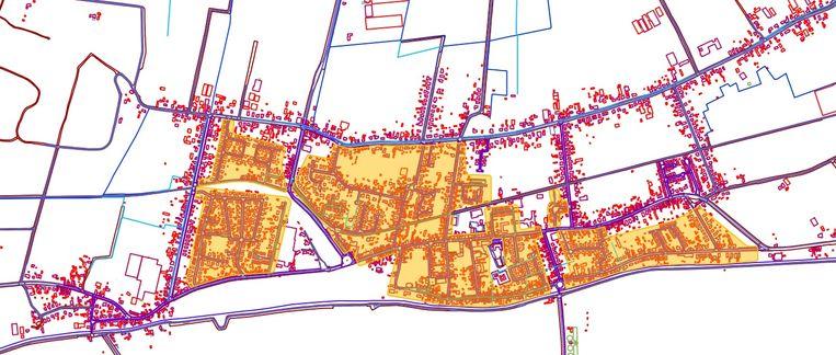 Een plannetje van de zone 30 die op komst is in Moerbeke. De centrale wegen (paars) behouden een regime van 50 kilometer per uur.