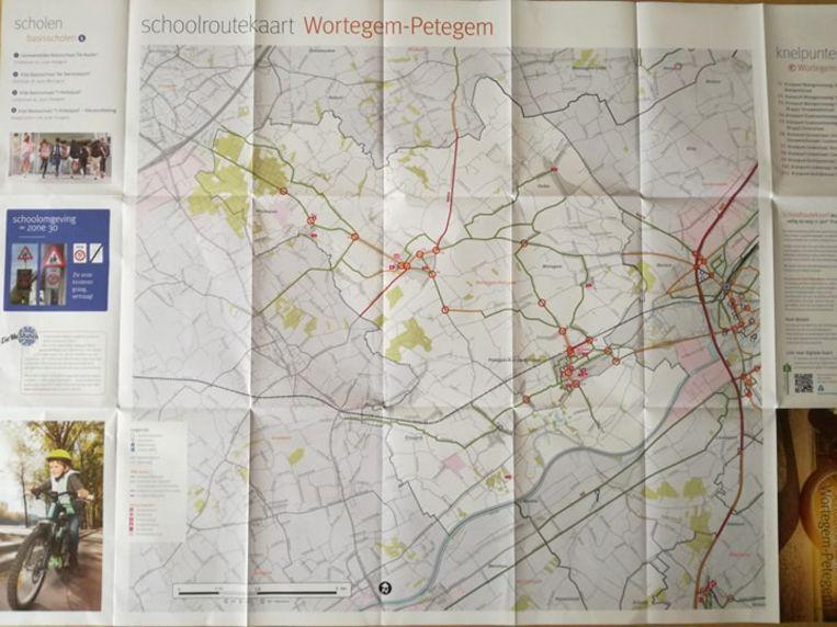De schoolroutekaart van Wortegem-Petegem.