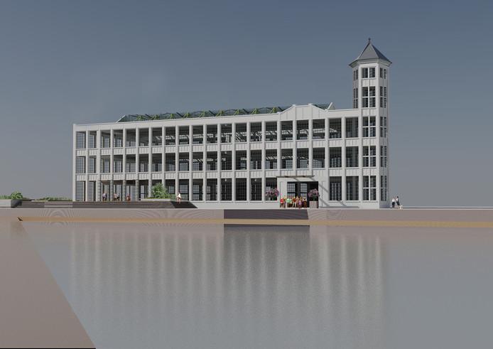 Impressie van de Timmerfabriek als hotel. Mét herbouwd torentje.