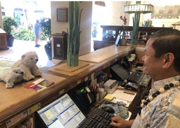 Sutra en zijn vriendje, de kleine zeehond, checken uit uit het hotel.