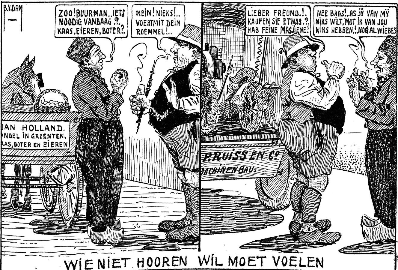 Bernard van Dam voorzag zijn tekeningen ook vaak van commentaar.