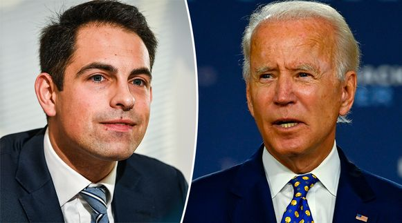 Links: Tom Van Grieken (VB). Rechts: Amerikaans presidentskandidaat Joe Biden.