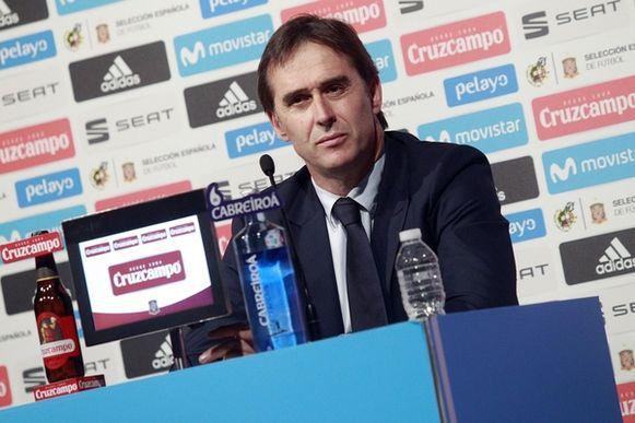 Julen Lopetegui bij de voorstelling van de Spaanse WK-selectie.