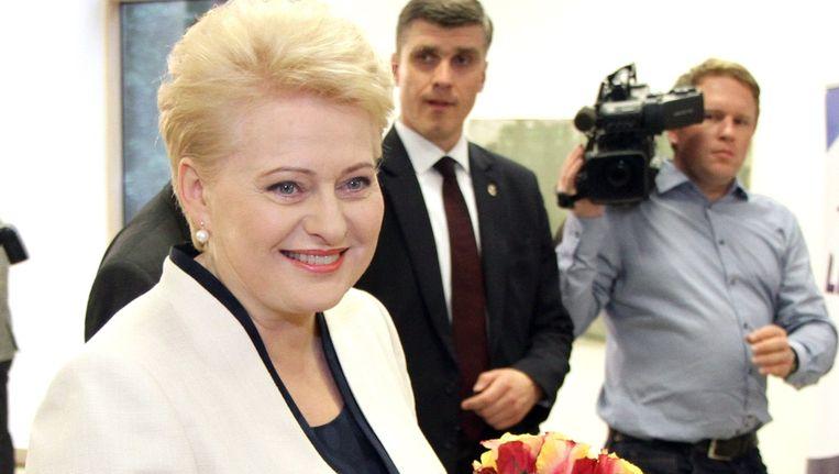 Presidente Dalia Grybauskaite werd vandaag volgens voorlopige resultaten herverkozen in Litouwen.