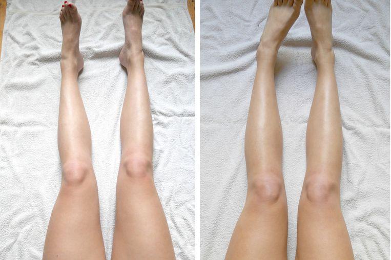 Redactrice Nina probeerde He-Shi Face & Body Tanning Gel links: voor - rechts: na