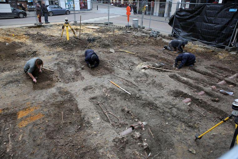 De archeologen leggen enkele van de geraamtes bloot.