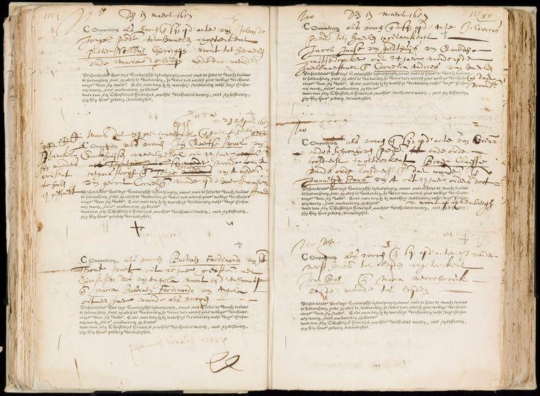 De ondertrouwakte van Bastiaan Fernando en verloofde Maria, 19 maart 1657. Beeld Stadsarchief Amsterdam