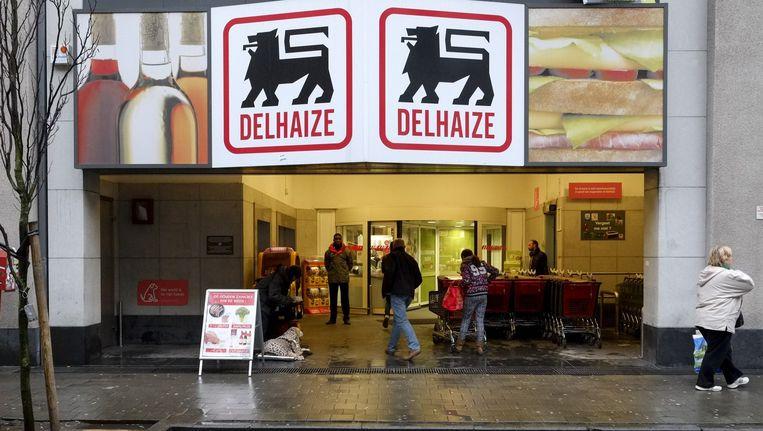 Delhaize supermarkt waar met zuur werd gegooid Beeld anp