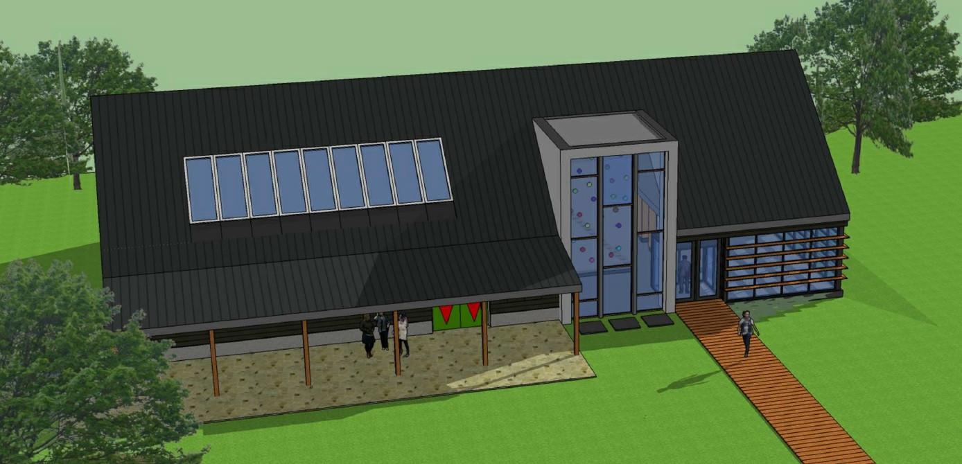 Een impressie voor de nieuwbouw van Buitensportcentrum Rocks 'n Rivers.
