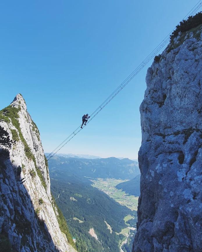 L'échelle qui permet d'accéder au sommet du Donnerkogel