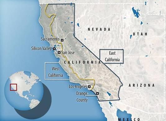 Zo zou Californië er uit zien na de splitsing.
