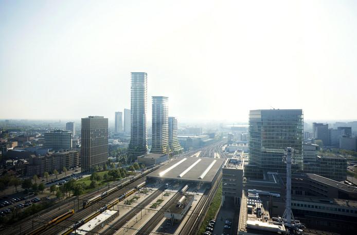 Impressie van het plan District E van projectontwikkelaar/belegger Amvest en bureau Powerhouse Company/ZUS   Zones Urbaines Sensibles voor het Stationsplein in Eindhoven.