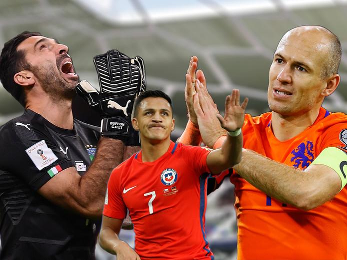 Gianluigi Buffon, Alexis Sánchez en Arjen Robben ontbreken komende zomer in Rusland.