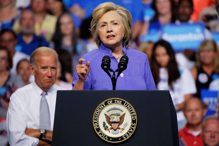 Op een verkiezingsrally van Hillary Clinton in 2016.