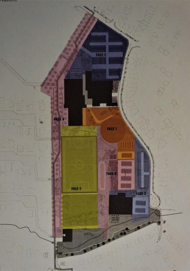 De nieuwe indeling van de site Palaestra met de verschillende fases: 1. het nieuwe ronde sportcomplex, de exacte locatie is nog niet definitief. 2. Het kunstgrasveld. 3. Nieuwe padel- en tennisterreinen. 4. Finse Piste. 5. Heraanleg parking.