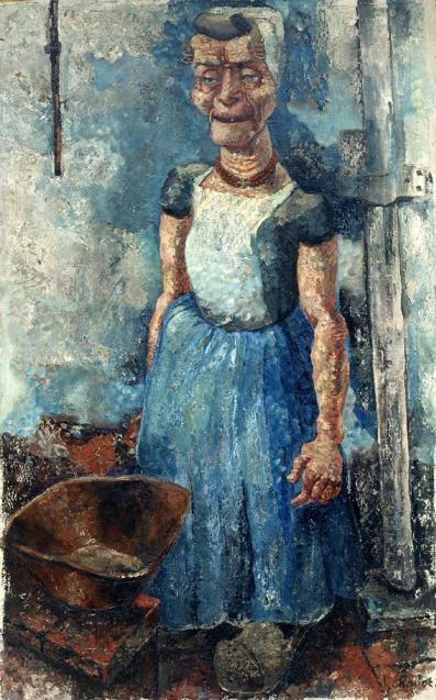 Schilderij Vrouwenpolderse boerin van Henk Chabot is een van de werken in de expositie Zicht op Zeeland in het Chabotmuseum in Rotterdam.