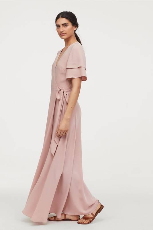 Robe portefeuille rose poudré - 49,99 euros