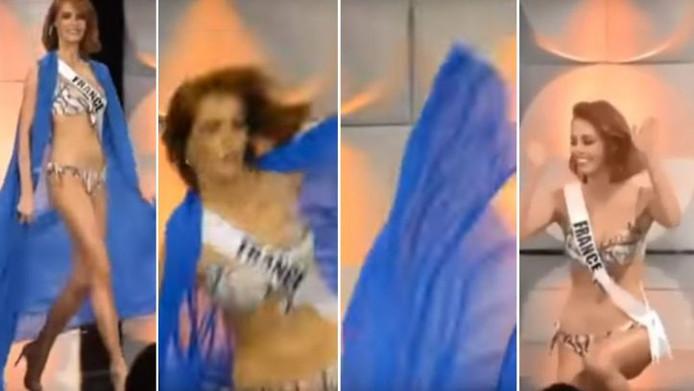 Maëva Coucke, Miss France 2018 chute lors des présélections de Miss Univers 2019.