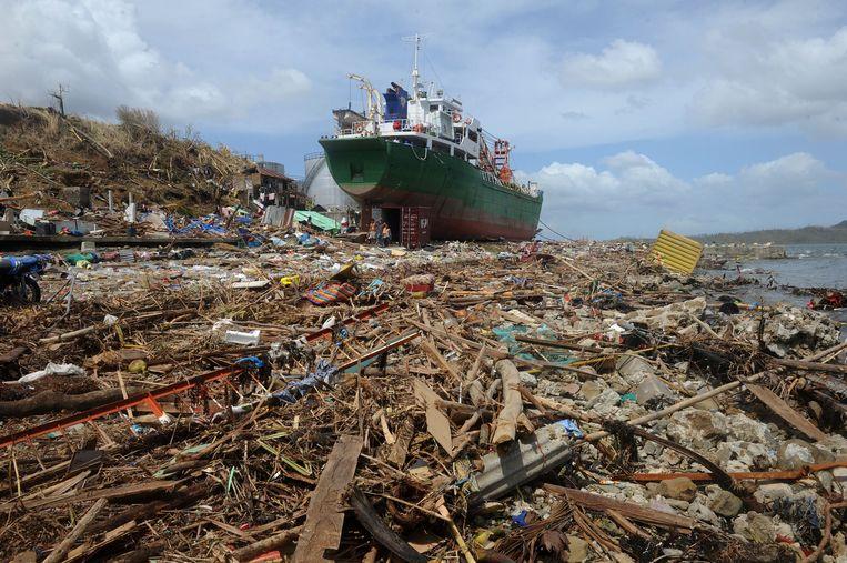 Tacloban, de zwaar getroffen hoofdstad op het eiland Leyte. Beeld afp
