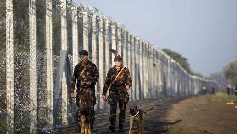 De Hongaarse grens bewaakt door soldaten Beeld anp