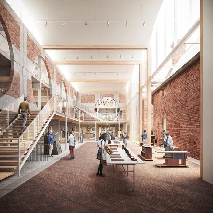 Een impressie van het interieur van nieuwe schoenenmuseum in Waalwijk. Het museum komt in het voormalige gemeentehuis aan het Raadhuisplein.