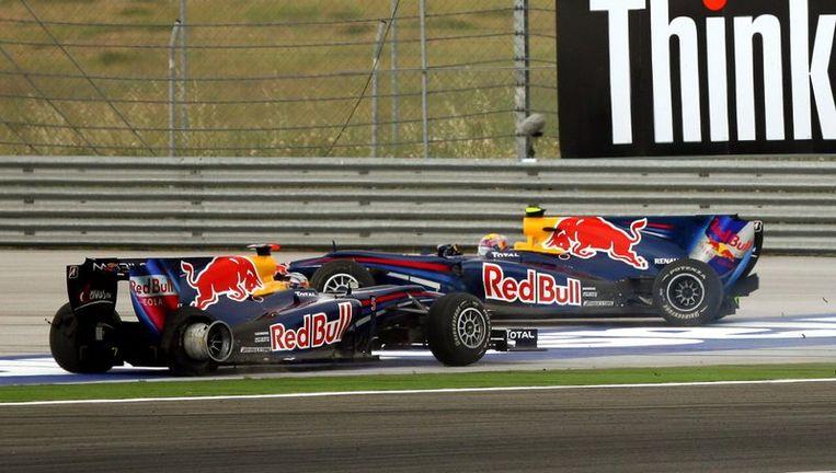 Sebastian Vettel en Mark Webber (R) tijdens de Grand Prix van Turkije. Foto EPA Beeld