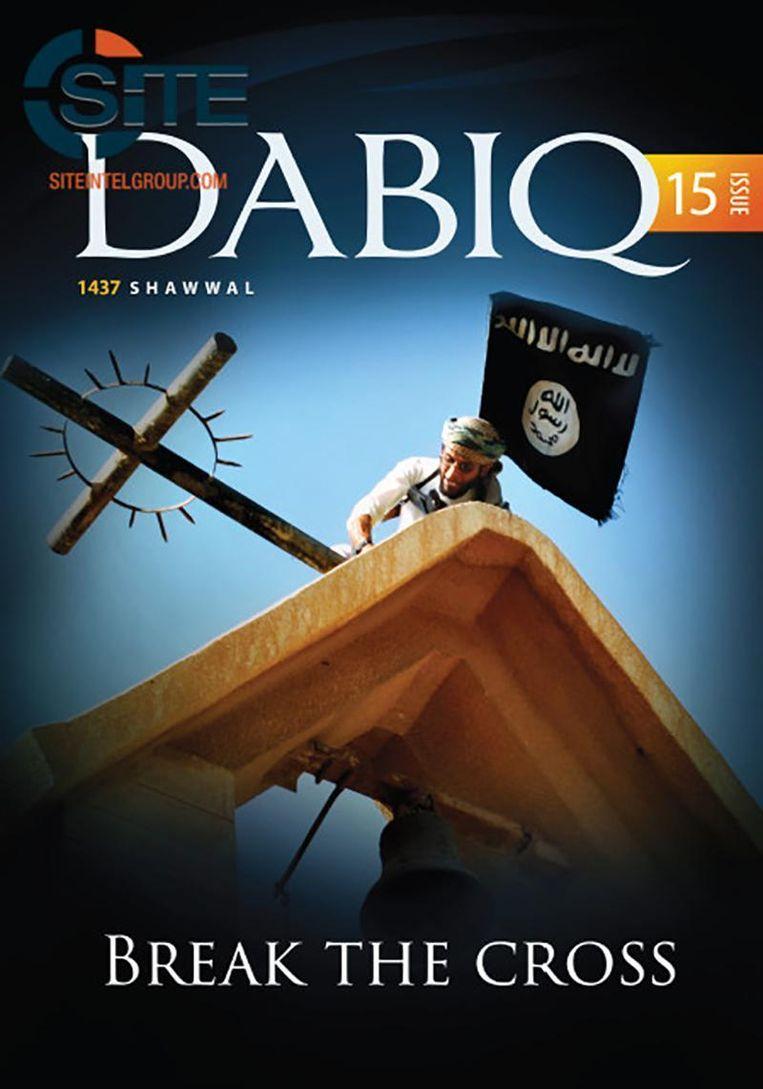 De cover van de vijftiende editie van het IS-propagandablad Dabiq.