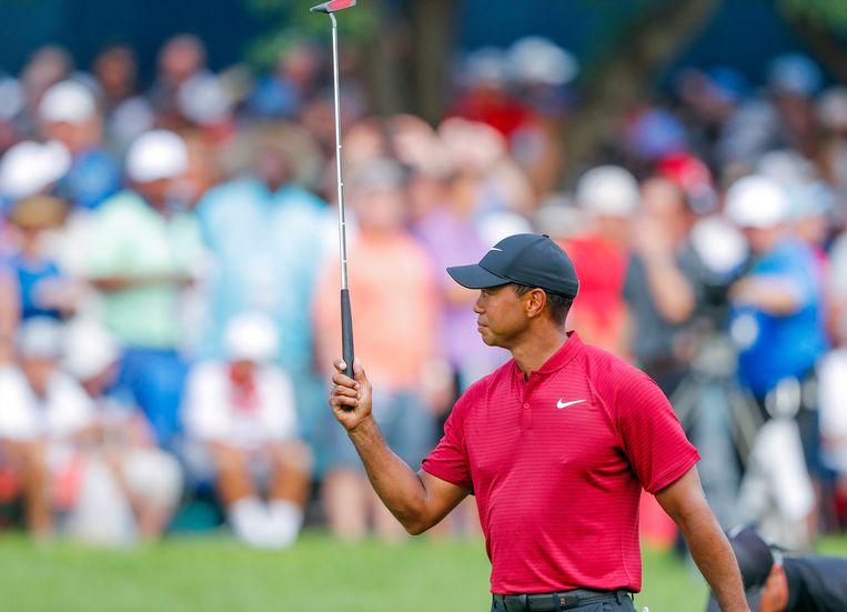 Tiger Woods tijdens laatste ronde van het honderdste PGA Kampioenschap in St. Louis in de Verenigde Staten Beeld AFP