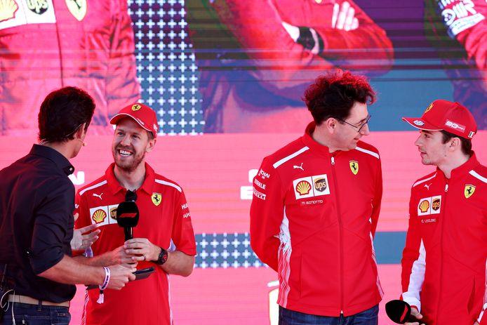 Sebastian Vettel en Charles Leclerc van Ferrari.