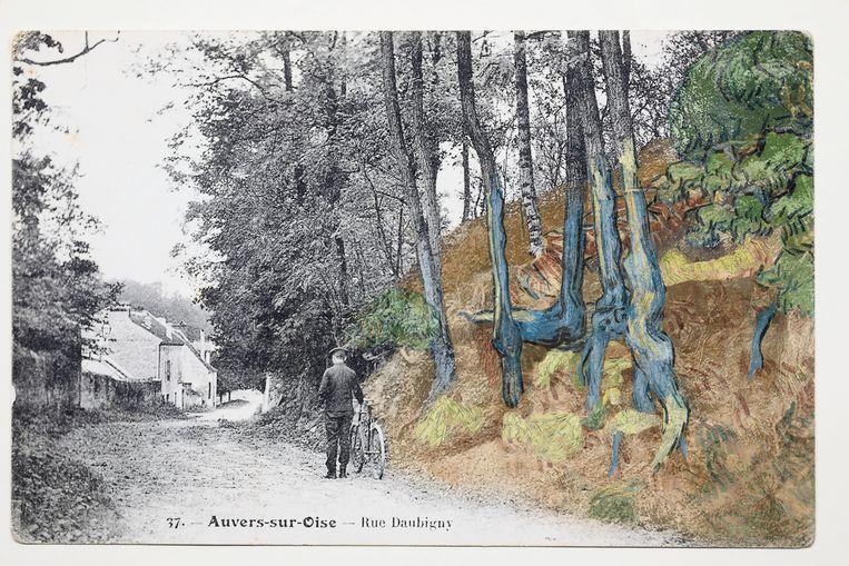 De (ingekleurde) ansichtkaart waarop het schilderij 'Boomwortels' (1890) van Van Gogh werd herkend, 1900-1910. Beeld Arthénon
