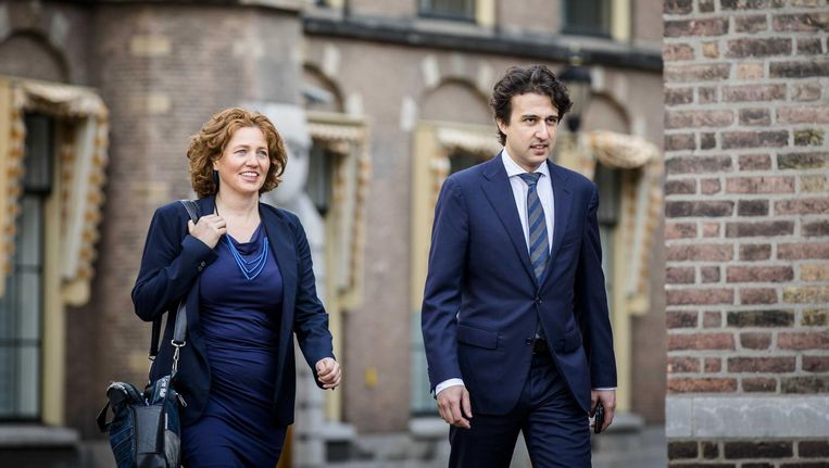 Onderhandelaars Cathalijne Buitenweg en Jesse Klaver van GroenLinks tijdens de kabinetsformatie. Beeld anp