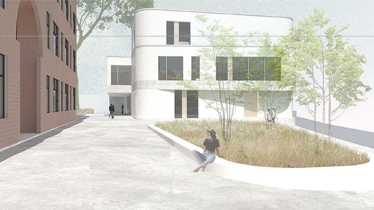 Een conceptbeeld van de nieuwbouw die straks naast Prizma Campus Middenschool Izegem gebouwd wordt.