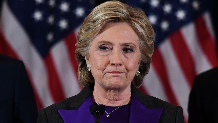 Hillary Clinton tijdens haar afscheidstoespraak. Beeld AFP