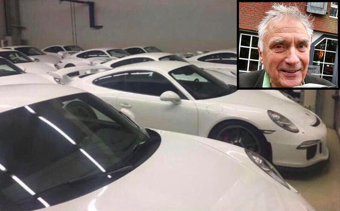 De Porsches 911 GT3 die te koop staan op Marktplaats. Rechtsboven: Piet Oldenhof.