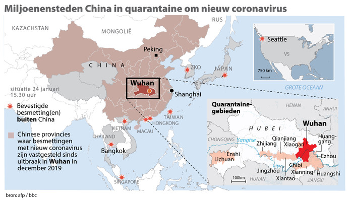 Miljoenensteden China in quarantaine om nieuw coronavirus.