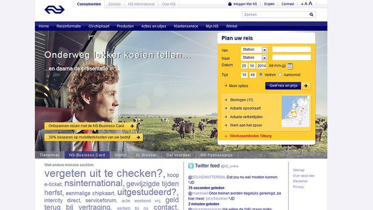 De NS maakt op haar website reclame met de tekst 'Onderweg lekker koeien tellen'. Beeld Screenshot NS