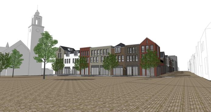Dit is mogelijk het nieuwe aanzicht vanaf De Markt in Zevenbergen. De huizen die er nu nog staan worden binnenkort gesloopt.