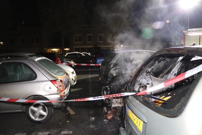 Aan de Staatssecretarislaan in Zwolle zijn vannacht vijf auto's beschadigd door brand.