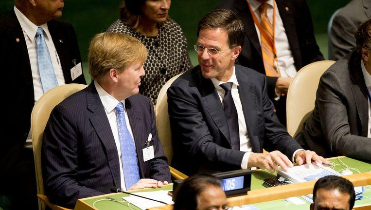 Koning Willem-Alexander en premier Mark Rutte tijdens de Algemene Vergadering van de Verenigde Naties. Beeld anp