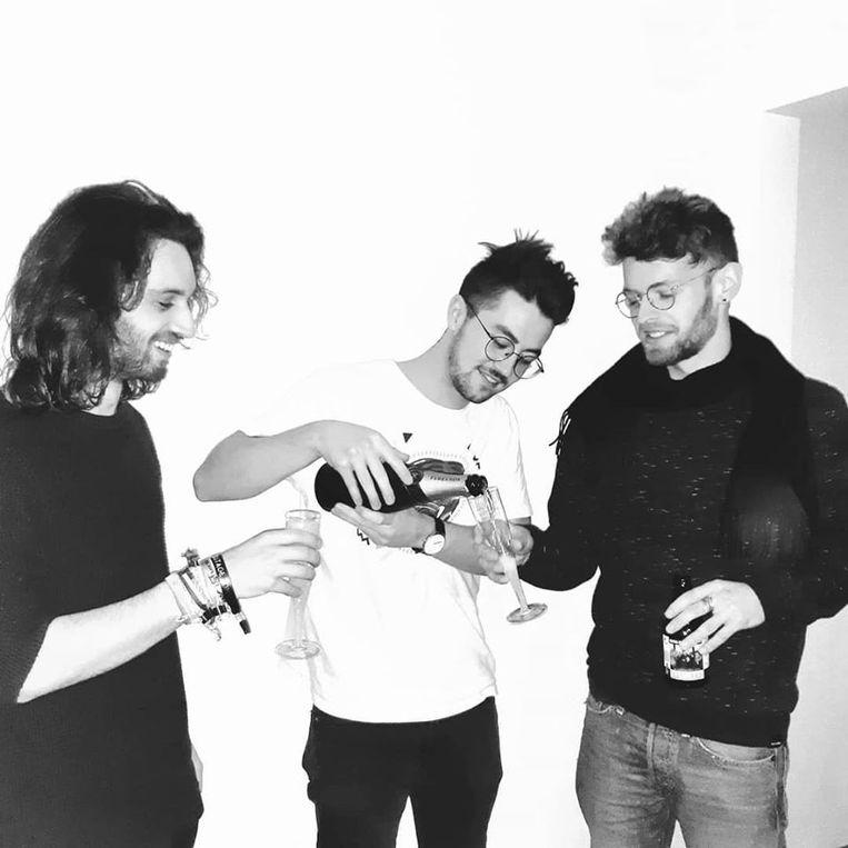 Thomas, Lou en Bas van de Gentse band Crooked Steps.