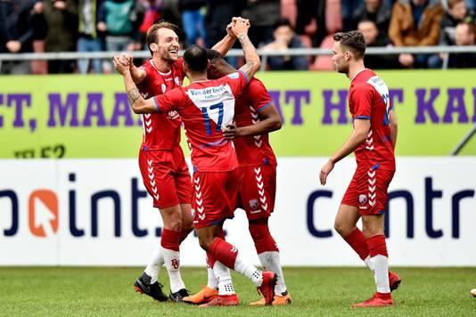 Feest bij FC Utrecht na de 1-0.