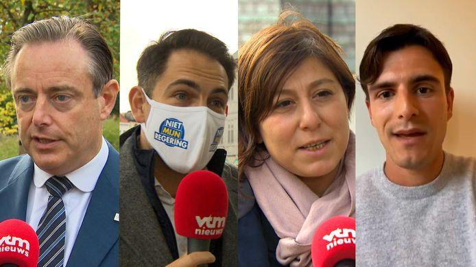 Bart De Wever, Tom Van Grieken, Meyrem Almaci en Conner Rousseau.