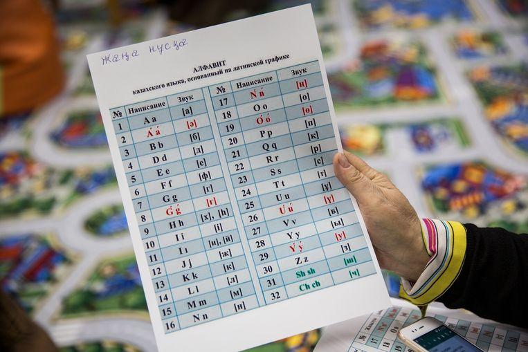 Het Latijnse alfabet dat de Kazachstanen moeten leren. Beeld Getty