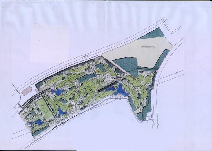 Een van de eerste ontwerpen van golfbaan-architect Alan Rijks voor de baan in Zevenbergen.